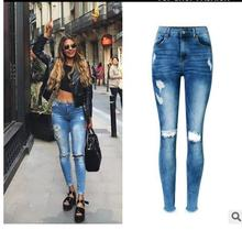 Free Shipping Womens Irregular Hole Fringed Casual Jeans High Waist Slim Spring And Summer Hole Denim Pants Trousers BB5
