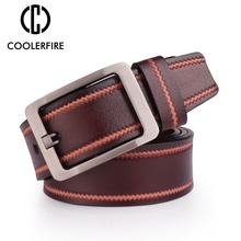 Newest Genuine Leather Belt for Men Pin Buckle Full Grain Jeans Wide Strap High Quality Cummerbunds SL009