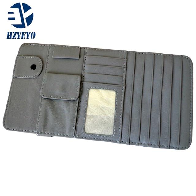 HZYEYO Genuine Leather Auto Car Sun Visor CD Cards Glasses Tickets Pen Zipper Storage Bag Holder Organizer,T2040