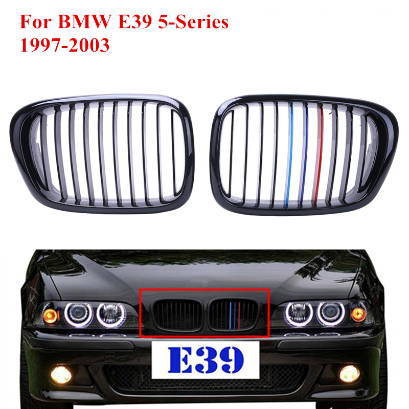 2x Car Front Kidney Grills Grille Lattice For Bmw E39 5