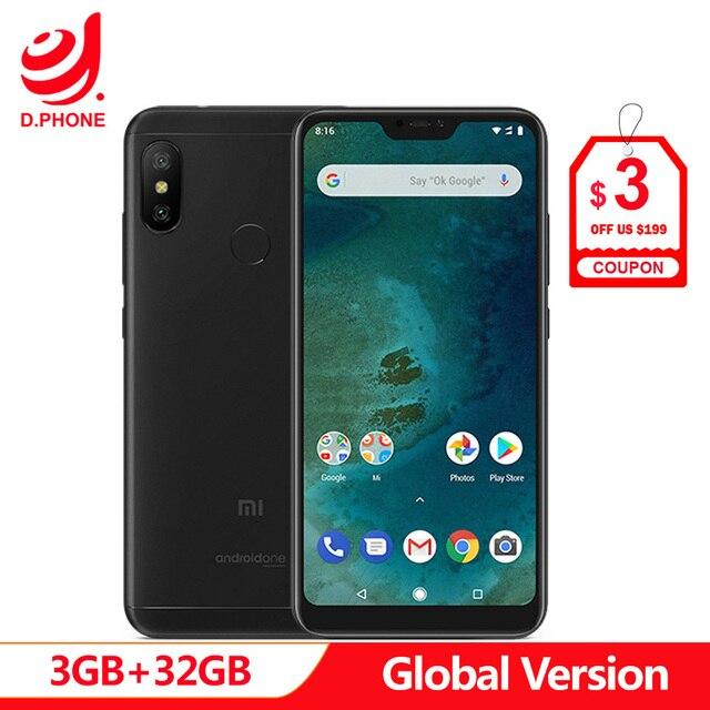 """Global Versie Xiao mi mi A2 lite 3 Gb ram 32GB rom SNAPDRAGON 625 Octa core 5.84 """"19:9 full Screen Dual AI Camera Smartphone"""