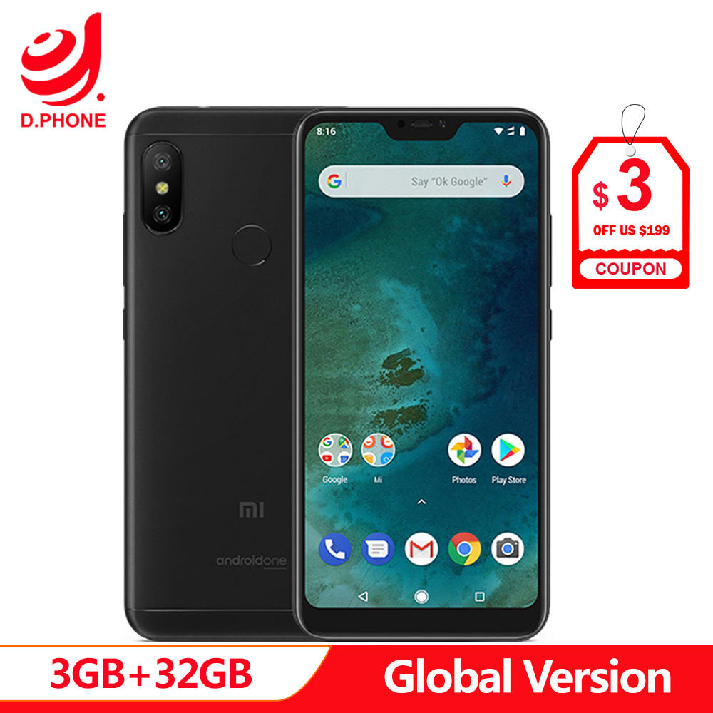 Versão Global Xiao mi mi A2 Lite 32 3 GB de RAM GB ROM Snapdragon 625 Núcleo octa 5.84