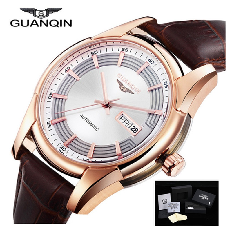 Fashion Casual Watch Leather GUANQIN Men WatcheTop Brand Luxury Men Date Week Leather Band Automatic Self-Wind Sport Watches luxury brand t winner self wind mechanical watch men date display watches modern stainless steel band casual men clock gift 2017