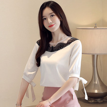 New Fashion Women A-word Slim Half Sleeve Chiffon Blouses Shirts