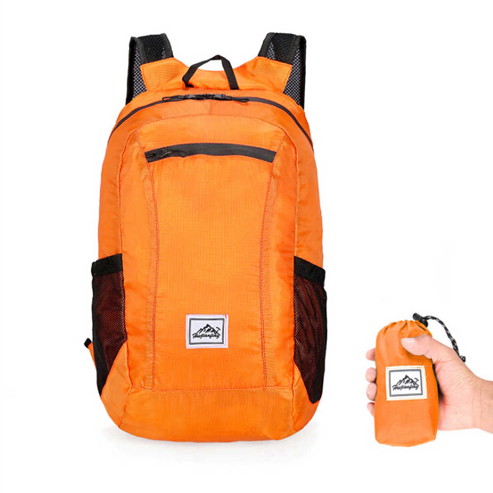 20L קל משקל נייד מתקפל תרמיל עמיד למים מתקפל טיפוס תיק Ultralight חיצוני חבילה עבור נשים גברים נסיעות טיולים