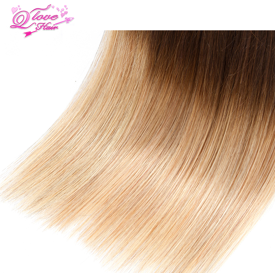 Queen Love Hair Ombre Brazilian Straight Wave Hair Extensions 1B/4/27 10-26inch Non-Remy Human Hair Wave Bundles