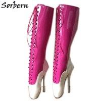 Sorbern экзотические танцор обувь загрузки унисекс Crossdressing туфли на высоком каблуке балетные костюмы каблучки фуксия балетные костюмы сапоги