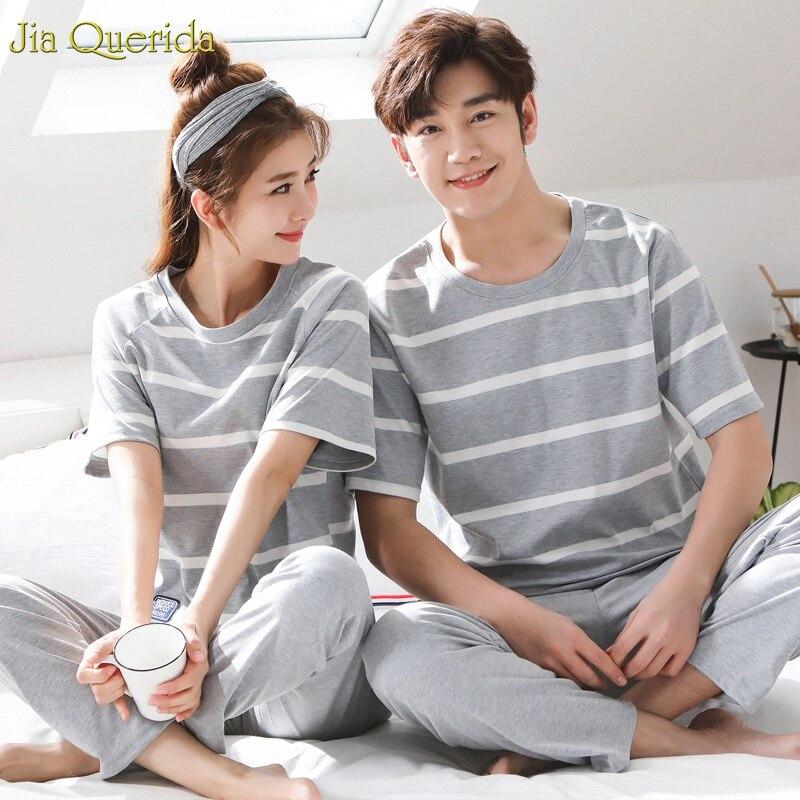 Chinese Pajama Men And Womens Loungewear 2019 Spring New Short Sleeve Long Pants Cotton Pajamas Couple Matching Sleepwear Set