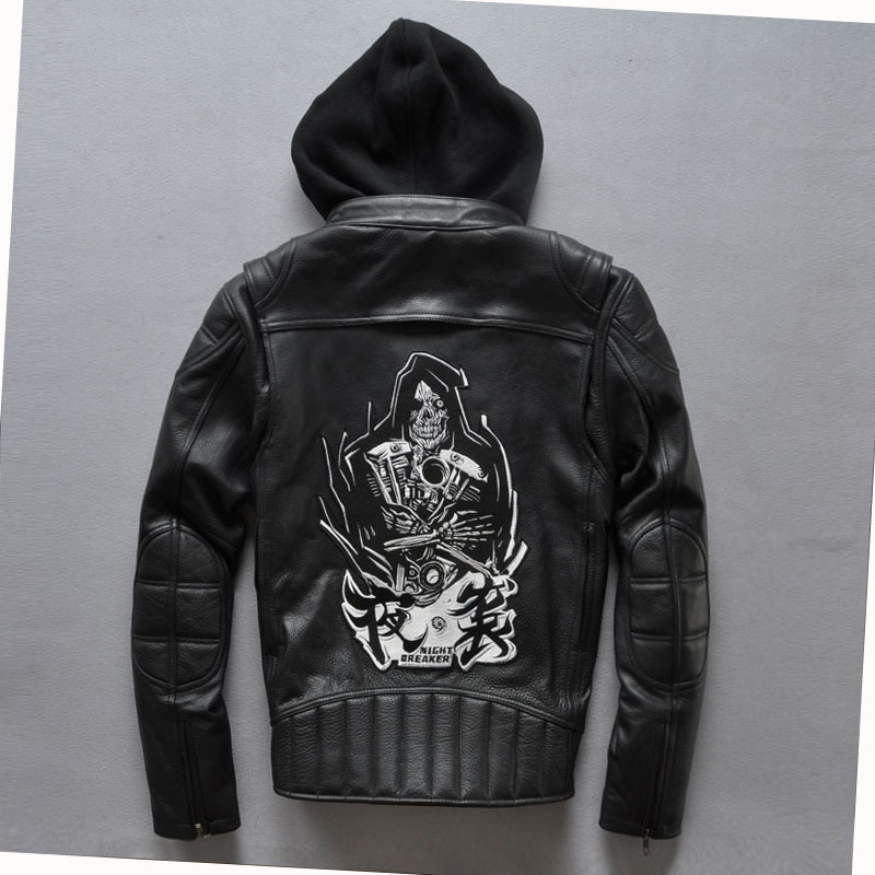 2018 Night Breaker Hooded Motorcycle Leather Jacket Men Black Cowskin Leather Coats With Skulls