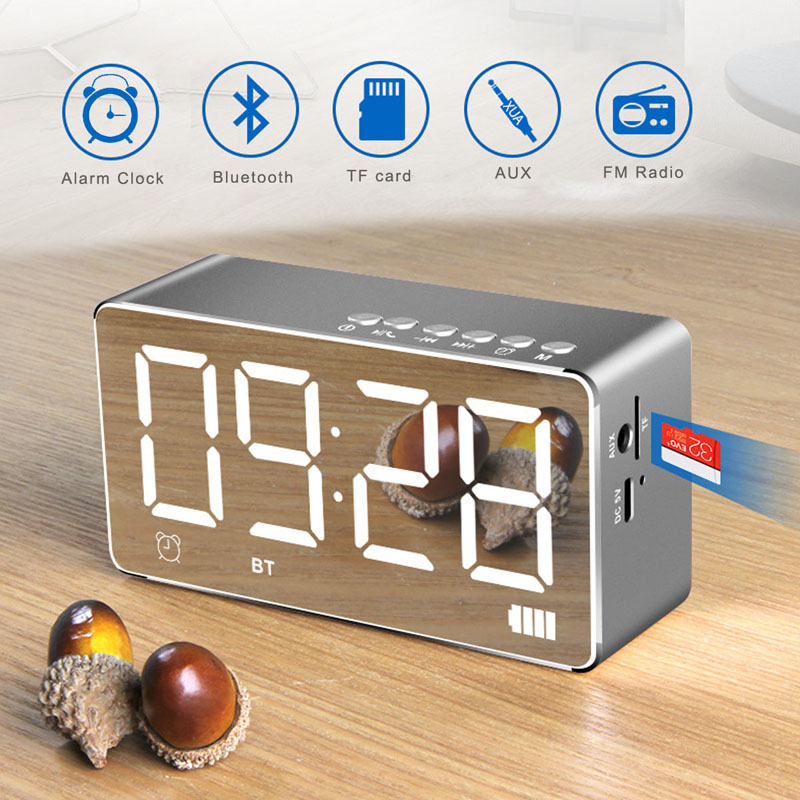 LED Digital Alarm Clock with Bluetooth Speaker and FM Radio,Stereo Sound Speaker Built-in TF Card,LED Nightstand Clock