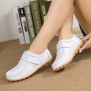 Image 5 - Hosteven femmes chaussures Sneakers appartements en cuir véritable mocassins décontractés chaussure à talons bas mocassins chaussures solide grande taille