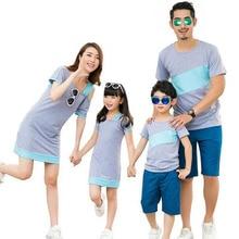 Одежда для семьи; платья с открытыми плечами для мамы и дочки; одинаковые комплекты для семьи; футболка для папы и сына; одежда для всей семьи