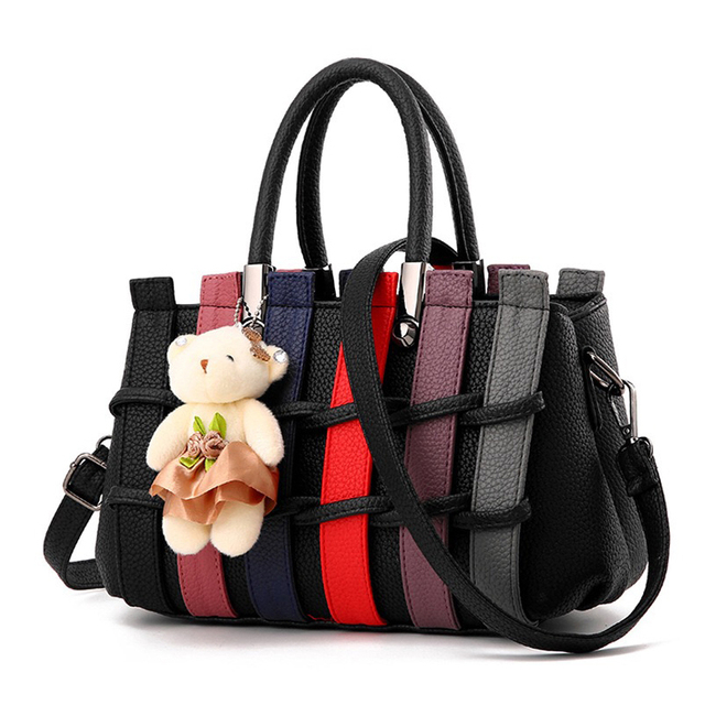 Fashion Patchwork Pattern Bear Decoration Pu Leather Shoulder Bags
