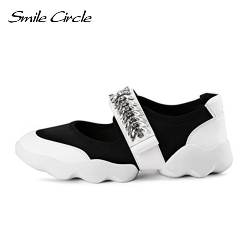 Smile Circle 2018 Spring Summer Style women sneakers fashion rhinestone flower Flats Shoes Women casual platform shoes smile circle spring autumn women shoes casual sneakers for women fashion lace up flat platform shoes thick bottom sneakers