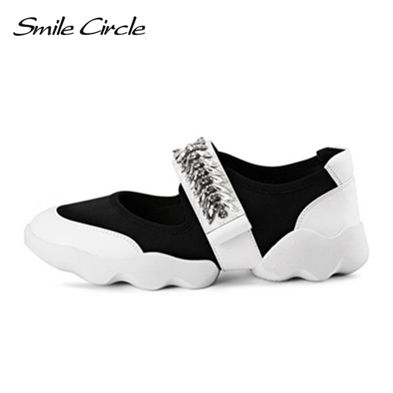 Smile Circle 2018 весна лето стиль женщины кроссовки мода горный хрусталь цветок обувь на плоской подошве женская повседневная обувь