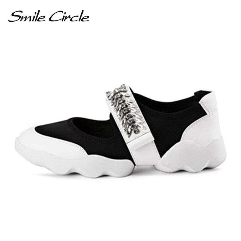 Smile Circle 2018 primavera verano estilo mujer Zapatillas moda strass flor zapatos planos Mujer Zapatos plataforma casual-in Zapatos vulcanizados de mujer from zapatos    1