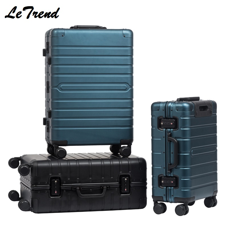 New Fashion 20 24 29 Inch Rolling Luggage 100% Aluminium Trolley Solid Travel Bag 20 Women Boarding Bag Carry On Suitcases TrunkNew Fashion 20 24 29 Inch Rolling Luggage 100% Aluminium Trolley Solid Travel Bag 20 Women Boarding Bag Carry On Suitcases Trunk