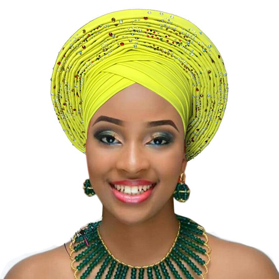 auto gele wedding african headtie african turban headband aso oke gele already made head wrap (9)