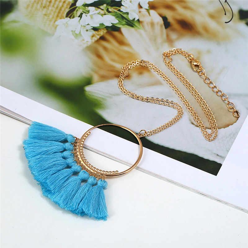 ROMAD Long Tassel Necklace for Women Maxi Statement Ethnic Long Chain Fringe Necklace Boho Fashion Jewelry Female R4