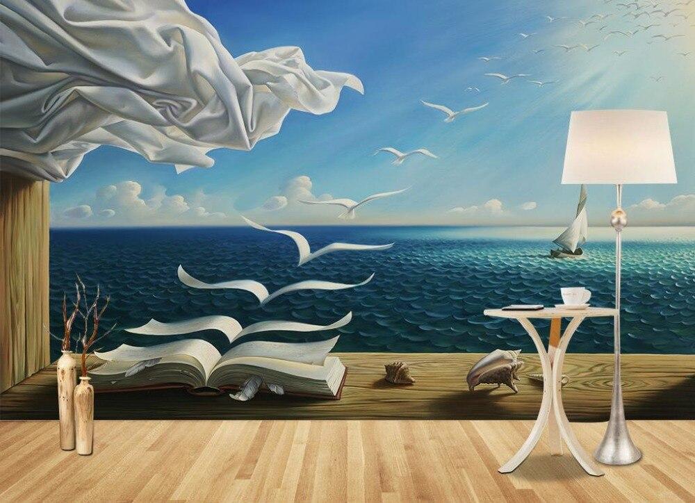 3D papel pintado murales mar ver libros no tejido 3D papel tapiz para discotecas Fondos alta ...