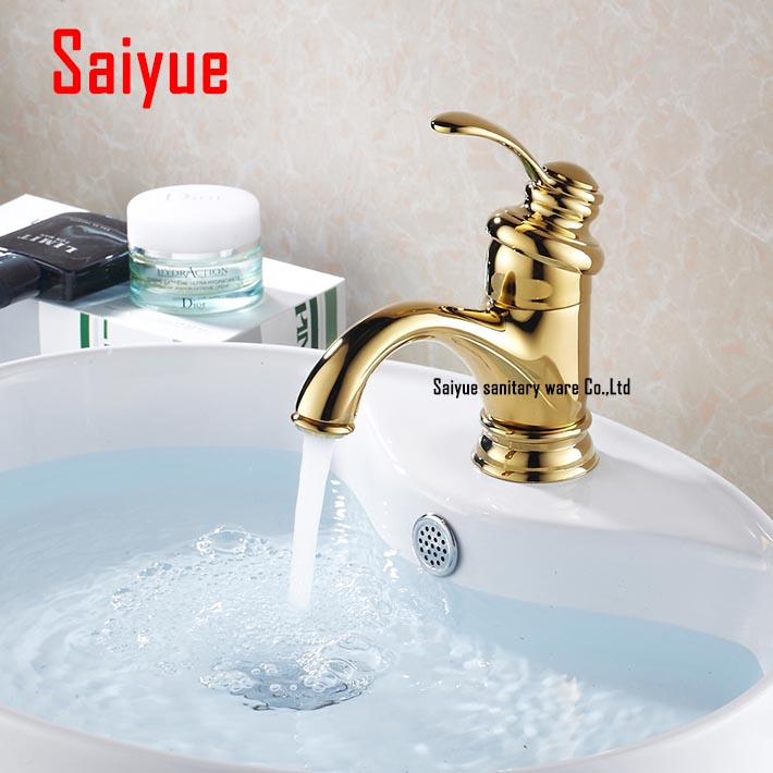 Luxury Gold Brass Single Lever Bathroom Sink Basin Faucet Mixer Tap Deck MountedLuxury Gold Brass Single Lever Bathroom Sink Basin Faucet Mixer Tap Deck Mounted
