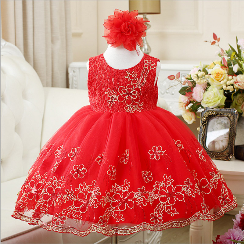 Baby Girls Dress Summer 2017 Princess red lace Cotton Children's Party Dresses for girls 2 4 6 8 10 years old Kids wedding dress summer dresses for girls party dress 100% cotton summer cool and refreshing the harness green flowered dress 1 5years old