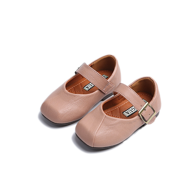 Baby Girls Pink Shoes Leather for Spring Autumn All Match Princess Shoes Soft Sole Kids White Shoes Low Shallow Flats Size 21-30