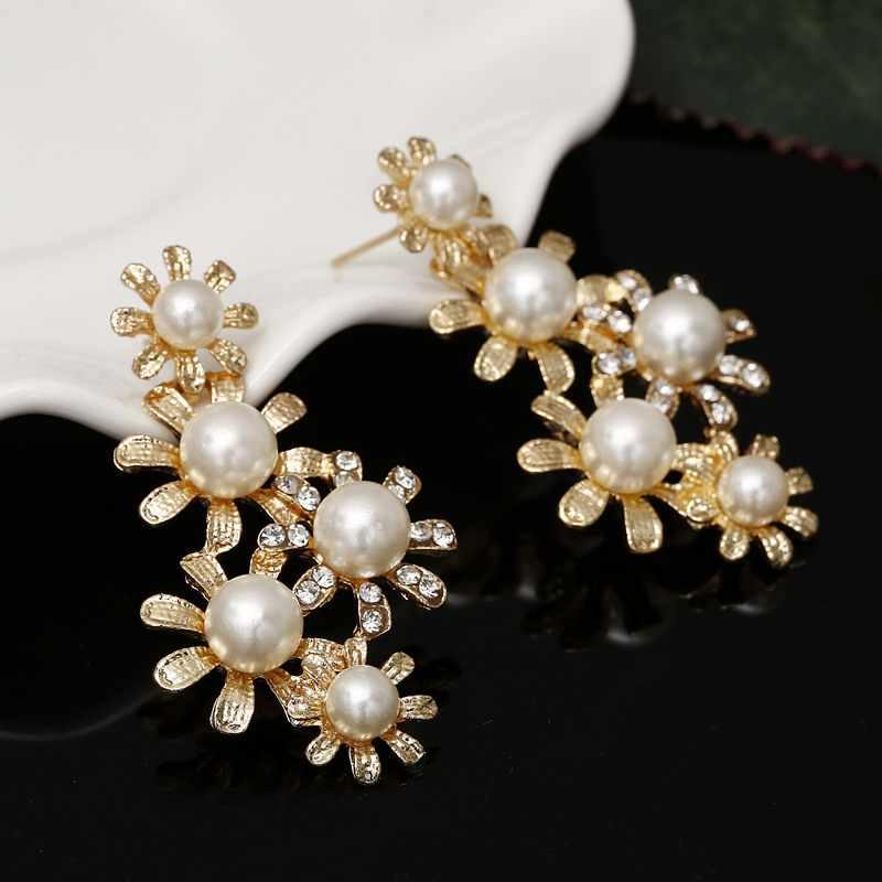 Da sposa Abiti delle Simulato Della Perla Set di Gioielli per Le Donne Accessori Cubic Collana Orecchini Set Oro di Colore Abiti Da Sposa