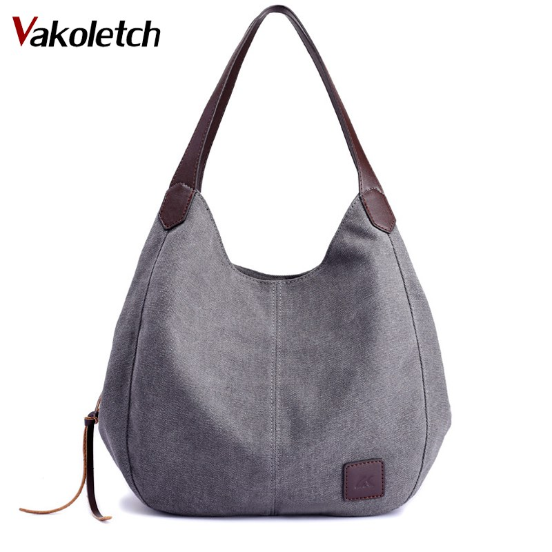 2018 Women Handbags Ladies Hand Bag Tote Canvas Bag Vintage Canvas Shoulder Bag Casual Leisure Bolsos Mujer Hobos Bolsas K101