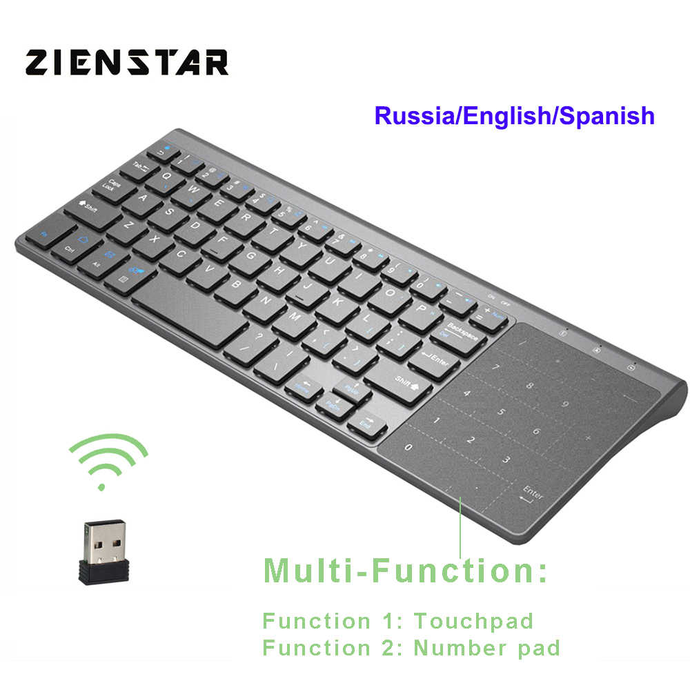 5e57131f731 Zienstar 2.4G Wireless Mini Keyboard with Touchpad and Numpad for Windows PC ,Laptop,
