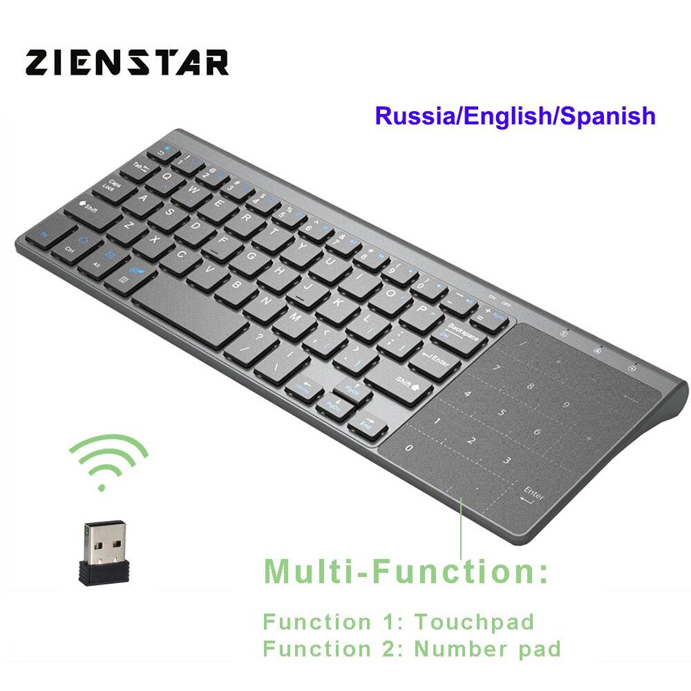 Zienstar 2.4G Sem Fio Mini Teclado com Touchpad e Teclado Numérico para Windows PC, Laptop, pad Ios, smart TV, HTPC IPTV, Caixa Android