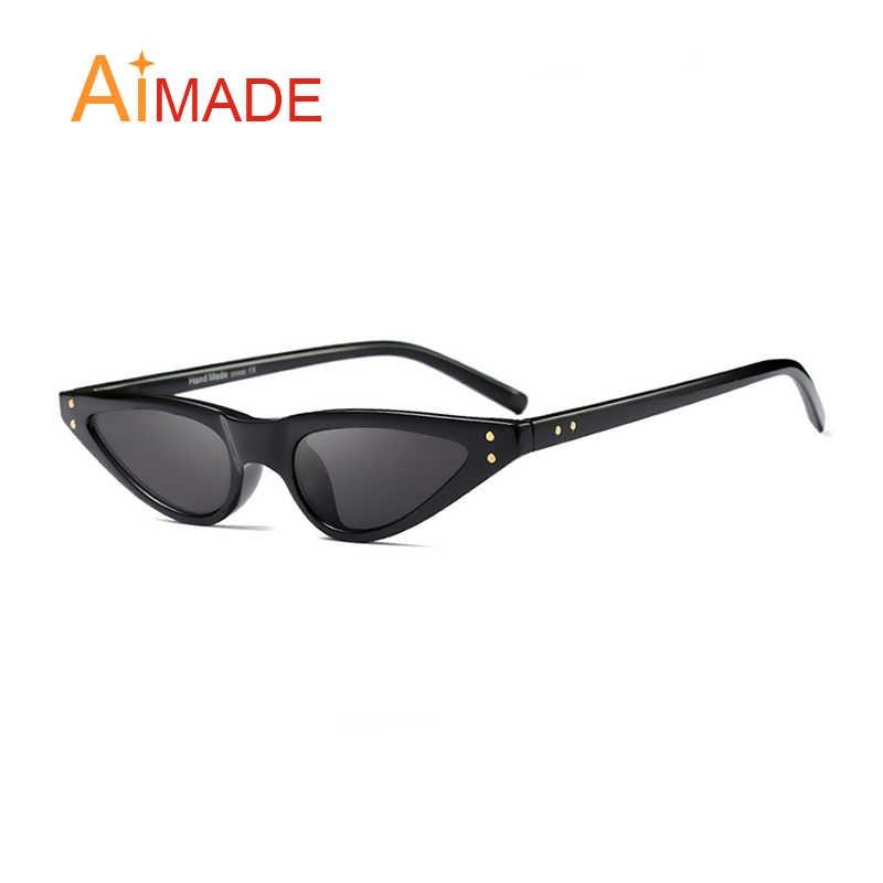 5e102995f146 ... Aimade 2018 Fashion Ocean Color Lens Small Cat Eye Sunglasses Women  Vintage Rivet Triangle Cateye Sun ...