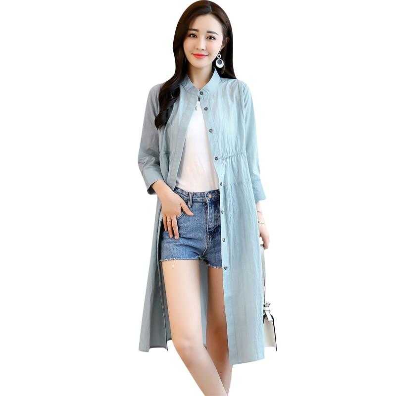 Marée Longue Femme Protection blue Section Ztt45 De Coupe Femmes 2018 Mode khaki Manteau Lâche vent white Soleil Mince Nouveau Black Printemps Coréenne Vêtements Single Eq8U7xw