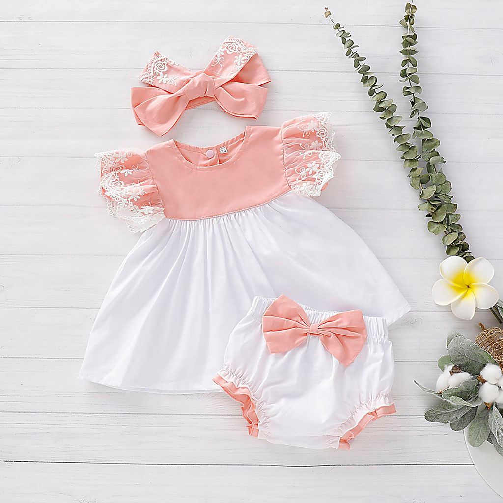 Baby Newborn Outfits-Set Headband Girls Dress Tops Shorts 3pc Bow Lace PP