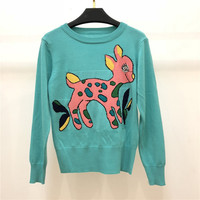 High Quality 30% Wool Sweater for Women 2018 Runway Designer O Neck Deer Knitted Pullovers Blue
