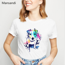 watercolor Jack russell terrier animal printed t shirt women clothes 2019 harajuku Dog Lovers funny tshirt femme t-shirt