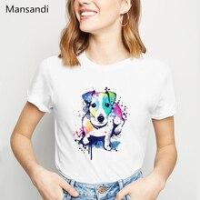 watercolor Jack russell terrier animal printed t shirt women