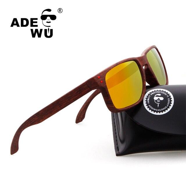 f5d8b70b9fb35 ADE WU Famosa Marca Designer Falso de Madeira Óculos Polarizados Óculos de Condução  Óculos de Sol