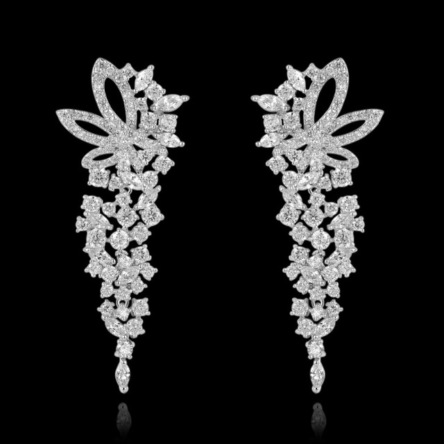 New Trendy 4 Color Luxury White Gold Plated Elegant Female Long Flower Diamond Earrings Cubic Zirconia