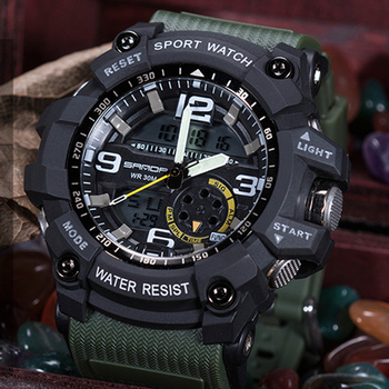 Hot Brand SANDA Men's Sports Watch Military Army Wristwatch Top Brand luxury Waterproof Digital Wrist Watches For Men Male Clock