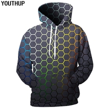 YOUTHUP 2018 New Design Men 3d Hoodies Geometric Patterns Print Hooded Sweatshirts Fashion Cool Hip Hop Pullover