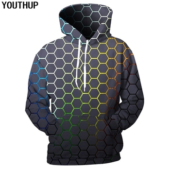 YOUTHUP 2020 New Design Men 3d Hoodies Geometric Patterns Print Hooded Sweatshirts Fashion Cool Hip Hop Pullover