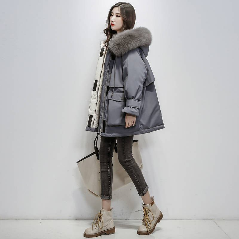 2019-Winter-Women-Real-Natural--Fur-Collar-Hooded-Down-Loose-Coat-Parka-Female-Thick-Warm (2)