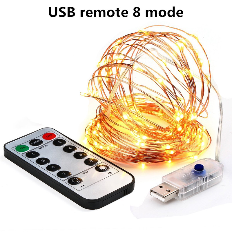 Christmas light 5/10m Waterproof Remote Control Fairy Lights Battery USB Operated  Decoration 8Mode Timer LED String Copper Wire 1
