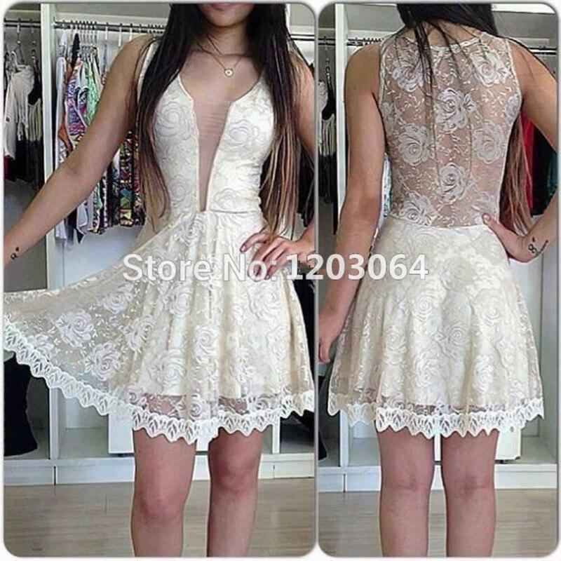 6699dc163 Custom Made 2016 blanco corto Vestido de fiesta Vestido Formal sin mangas  con transparente Sexy Back Vestido de noche Vestido Curto en Vestidos de  baile de ...