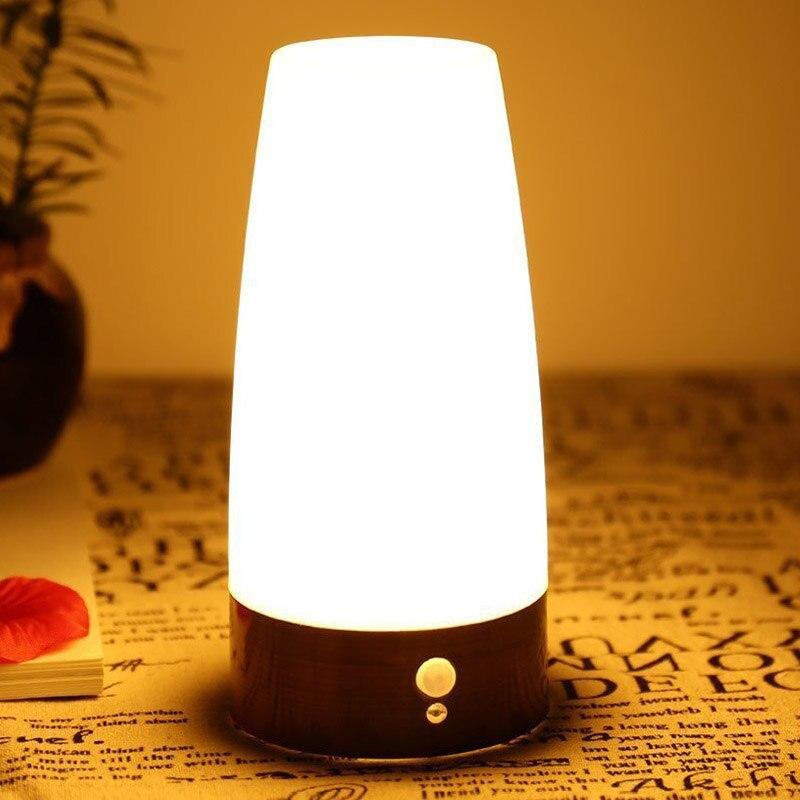 Us 13 34 20 Off Led Table Lamp Night Light For Kids Bedroom Living Room Battery Operated Motion Sensor Desk Lamp Home Night Lighting Fixtures In Led