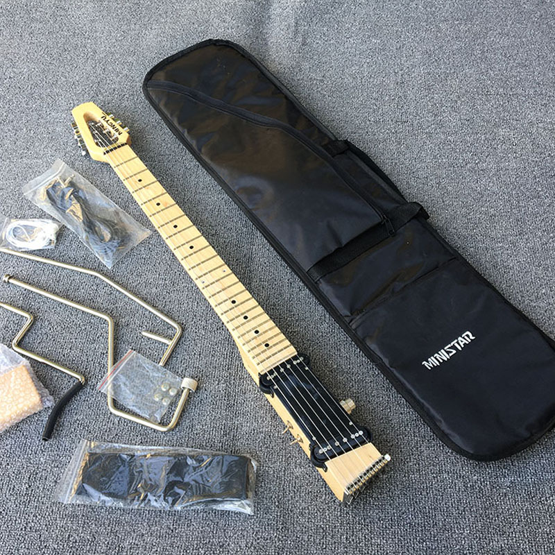 2018 new portable travel electric guitar maple fingerboard headphones can be used free shipping. Black Bedroom Furniture Sets. Home Design Ideas