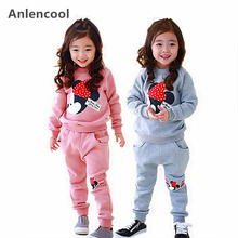 Anlencool 2019 new spring girl Minnie suit children long sleeved sweater suit 2-8 children cotton suit baby Girls sport clothing