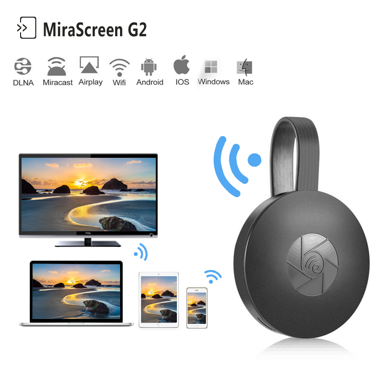 Heißer MiraScreen G2 TV Streaming-Stick Anycast Crome Guss HDMI WiFi Anzeigen Receiver dongle Miracast Chrome Mini PC Android tv