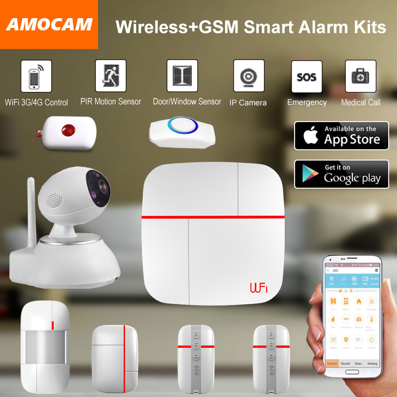Wireless WiFi + GSM Home Alarm System IOS Android APP controlled Home Smart Security Burglar Intelligent with IP camera Kits kerui black white intelligent wireless gms sms call home burglar intruder ios android app security alarm system touch keypad